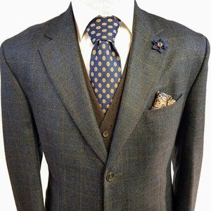 Nautica Wool Cashmere Windowpane Check Blazer 44L